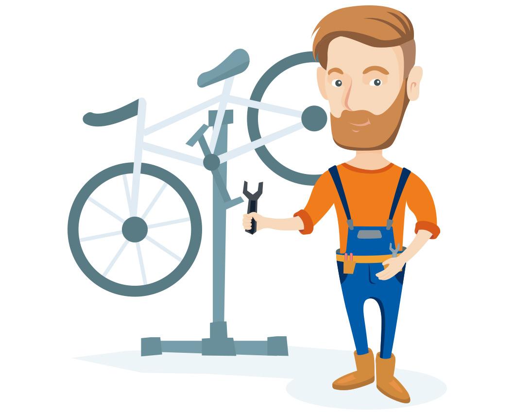 Illustration eines Fahrradmechanikers